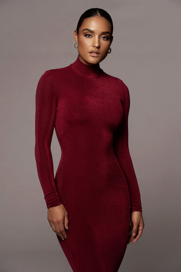 WINE AUDETTE TURTLENECK DRESS