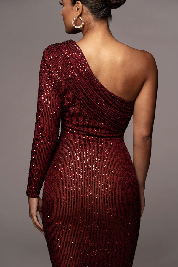 RED LURE GATHERED ONE SHOULDER DRESS