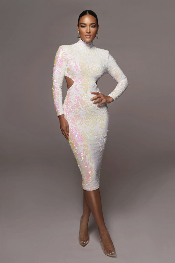 Ivory Utopia Sequin Mid Cut Dress