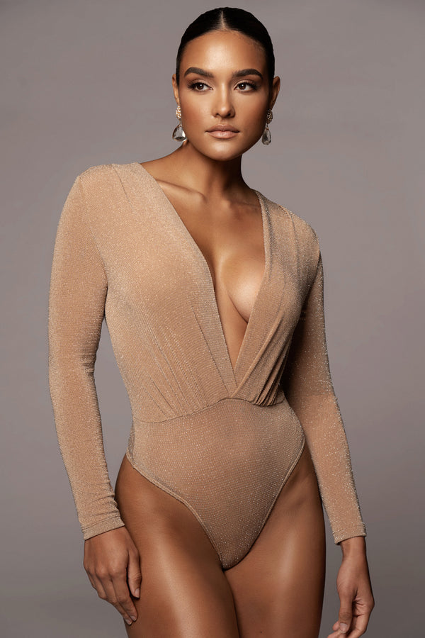 TAN DOMINIQUE DEEP V BODYSUIT