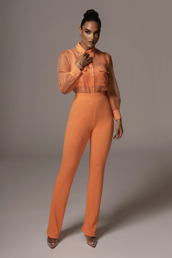 ORANGE BRET RIBBED PANTS