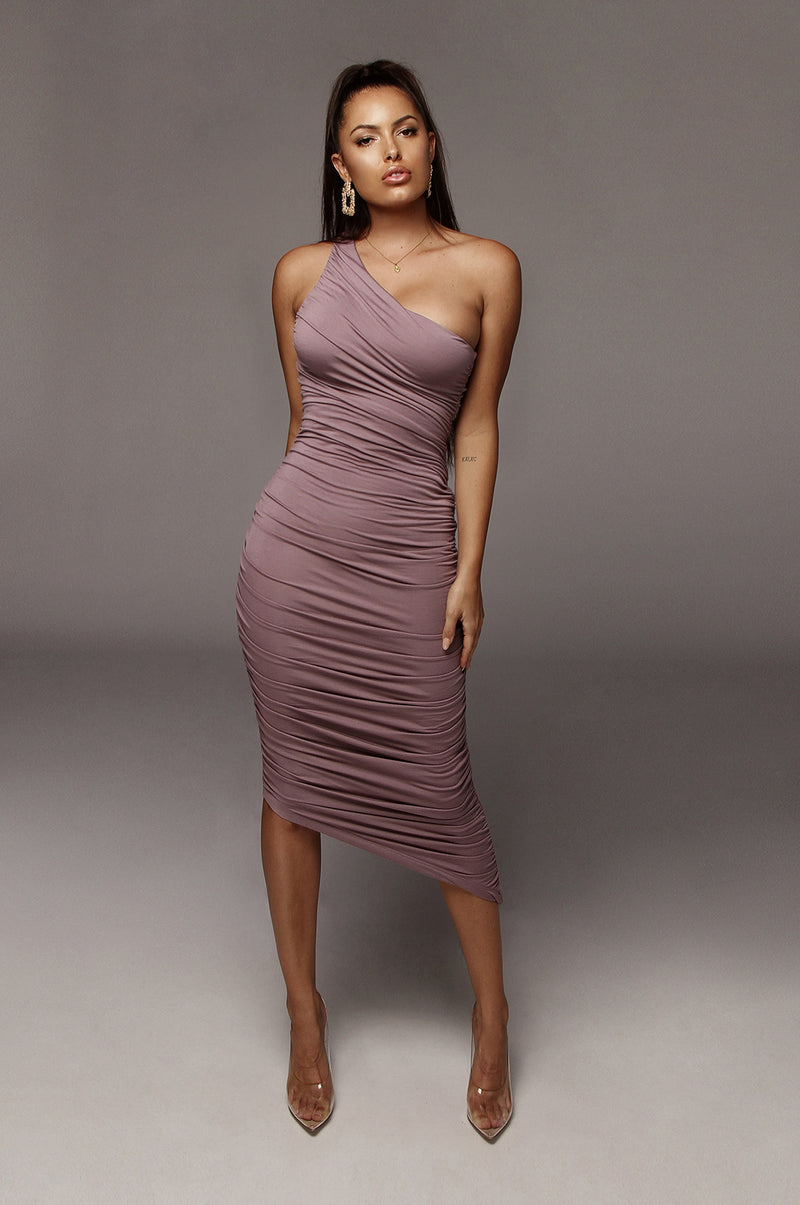 Purple Lola One Shoulder Ruched Dress