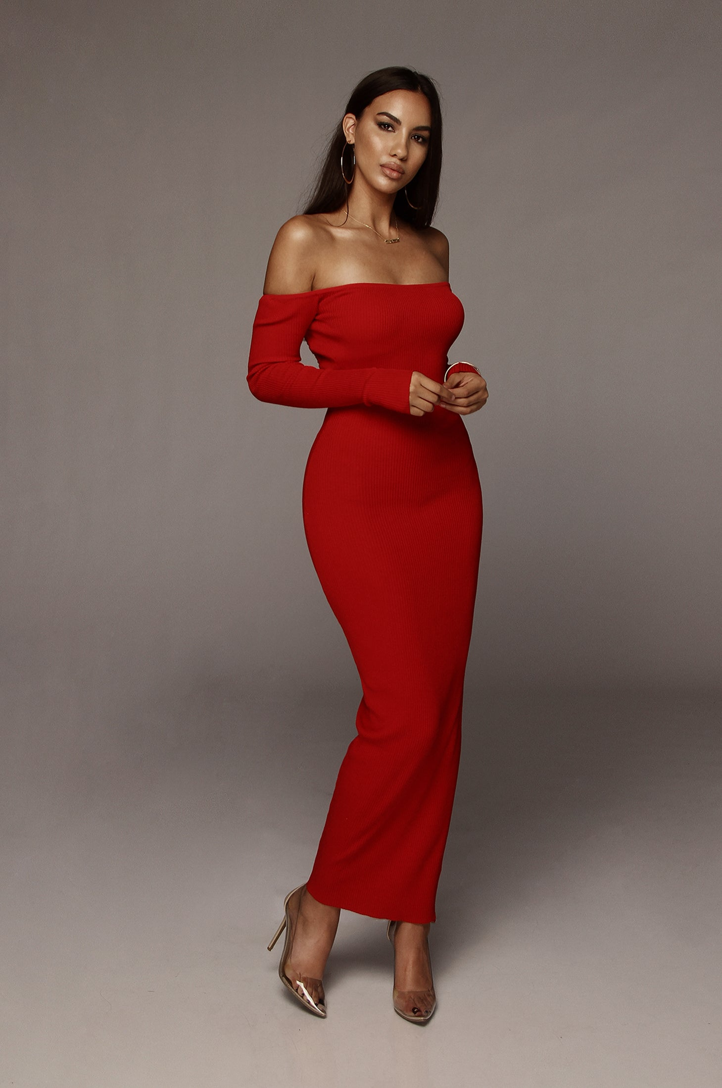 Red Open Back Kylie Midi Dress