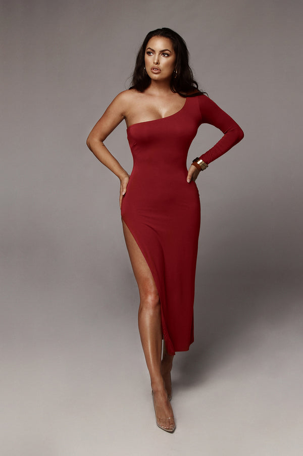Red Jules High Slit Dress