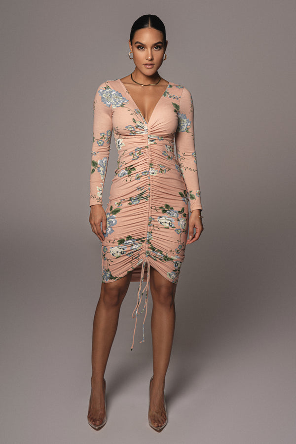 PEACH NEIL FLORAL RUCHED DRESS