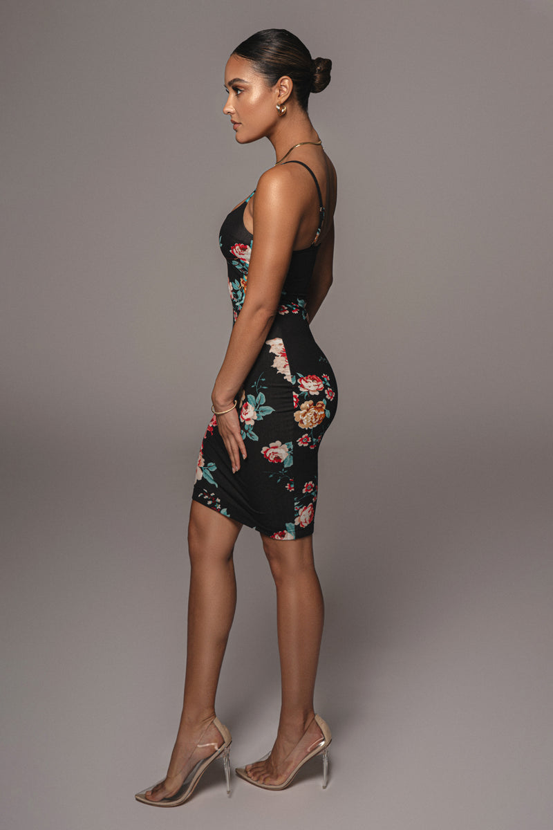 BLACK SUMMER FLORAL BODYCON DRESS