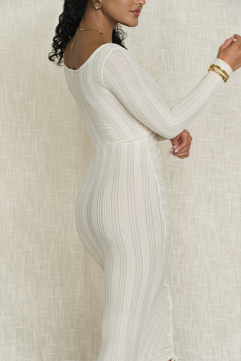SAND SHELL MELLE RUCHED KNIT DRESS