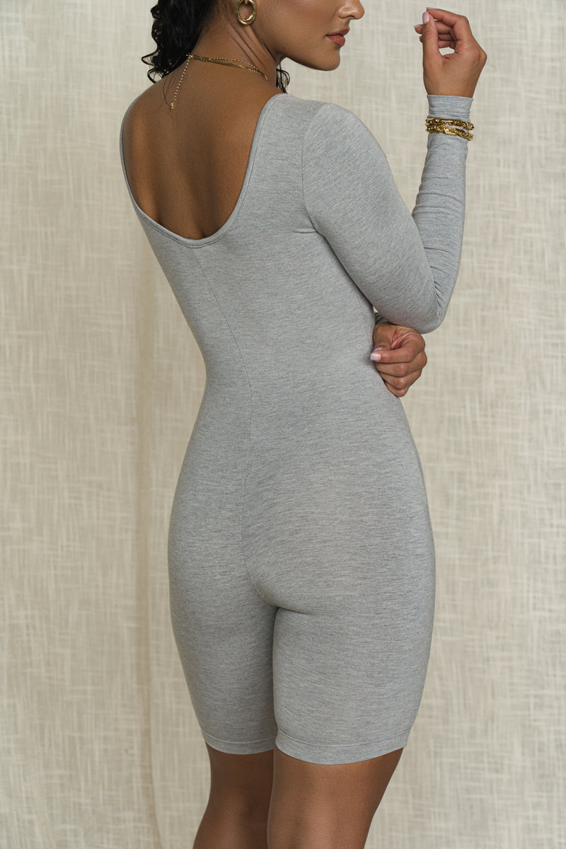 BODYBASIX GREY JASMIN SCOOP NECK ROMPER