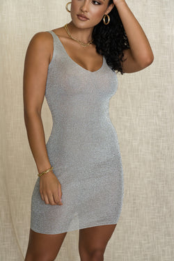 SILVER MARIANNA METALLIC DRESS