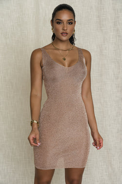 ROSE GOLD MARIANNA METALLIC DRESS