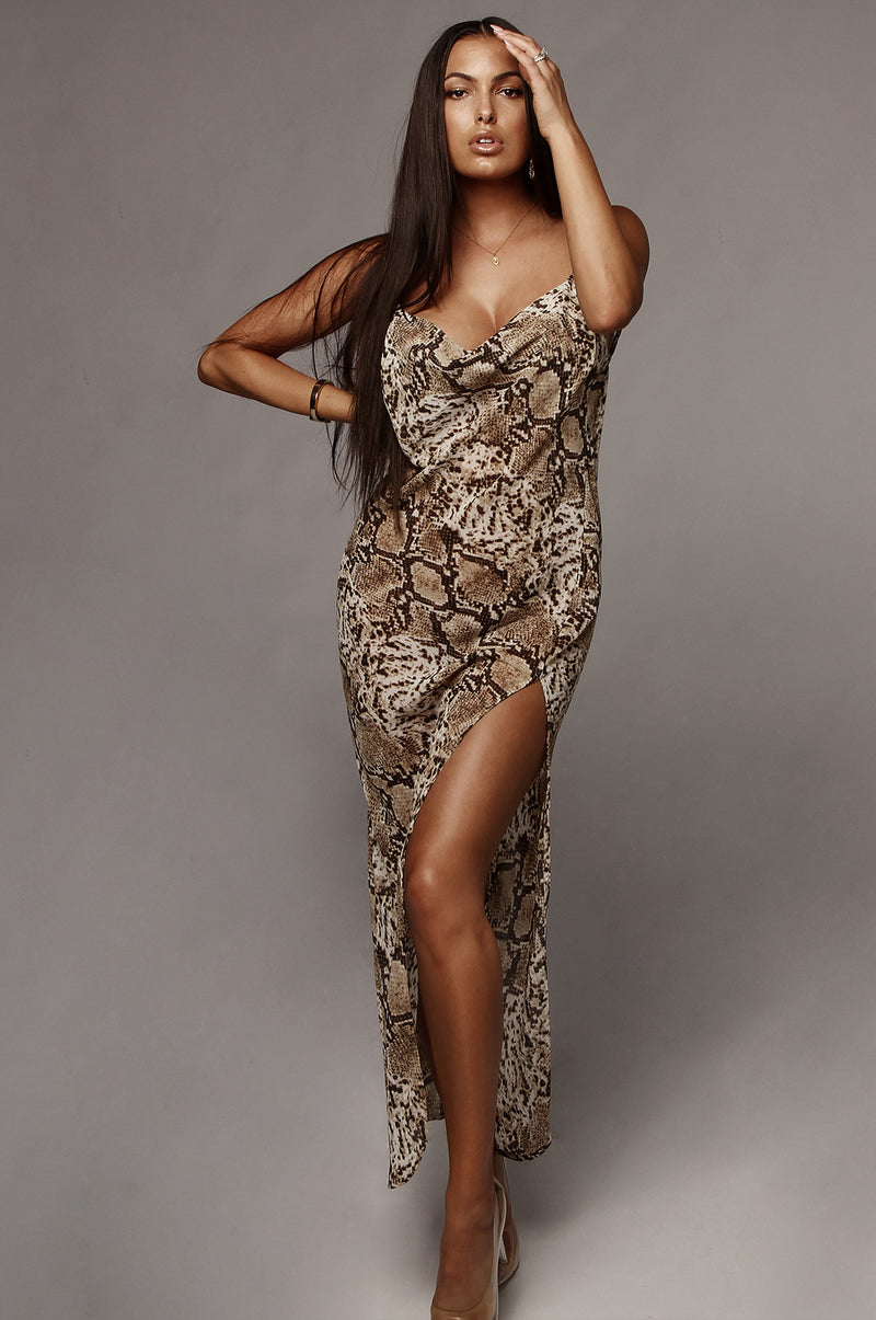 Snakeskin Chiffon Maxi Dress