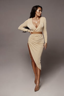 Tan Teresa High Slit Maxi Dress