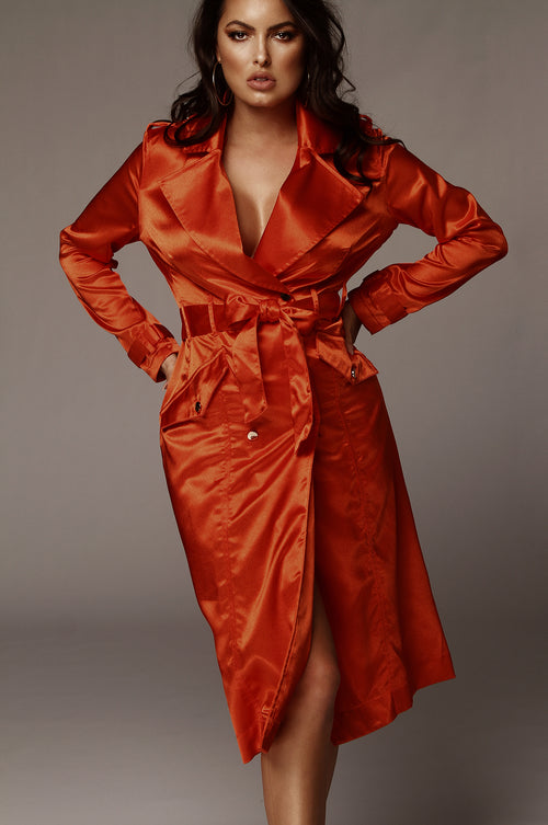 Tangerine Notorious Satin Coat