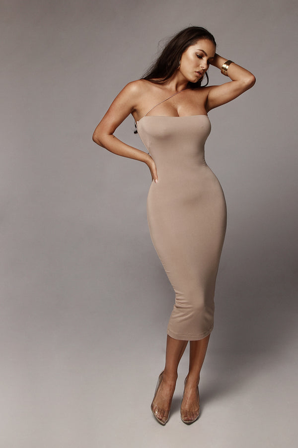 Taupe Tiffany Diagonal Strap Dress