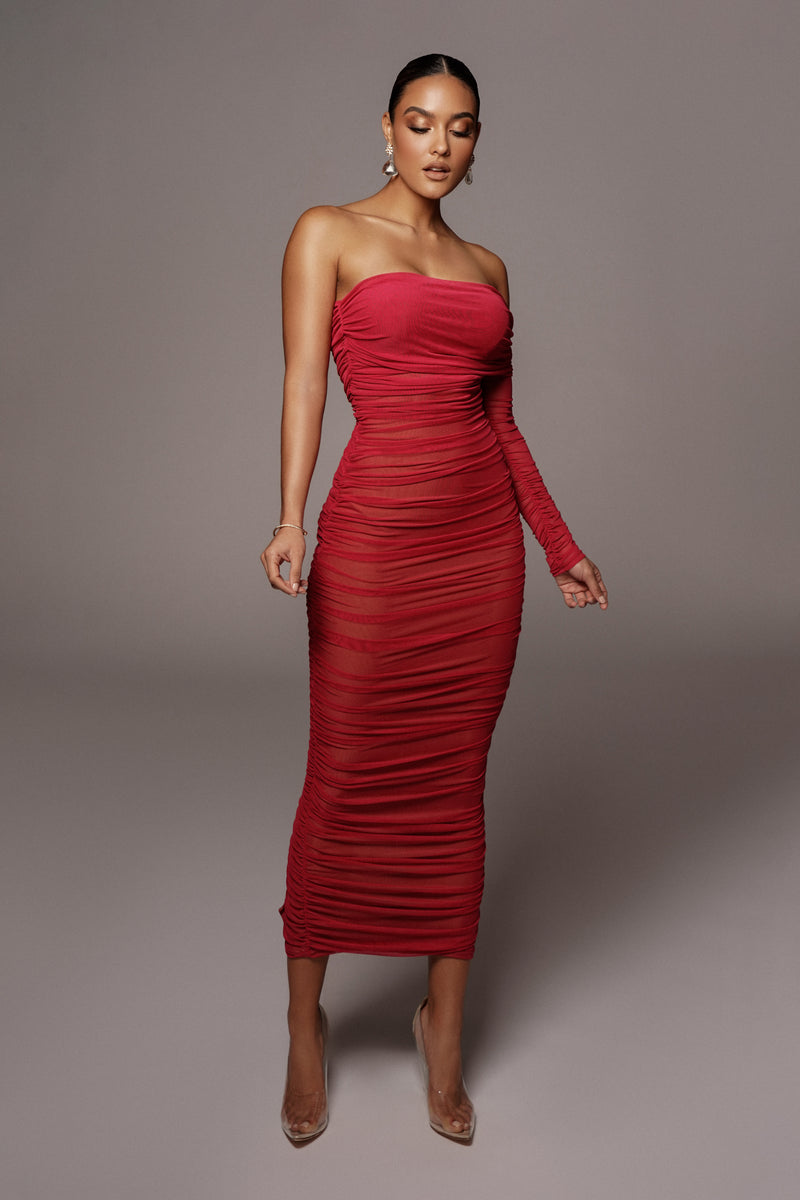 Red Denisse Ruched Dress