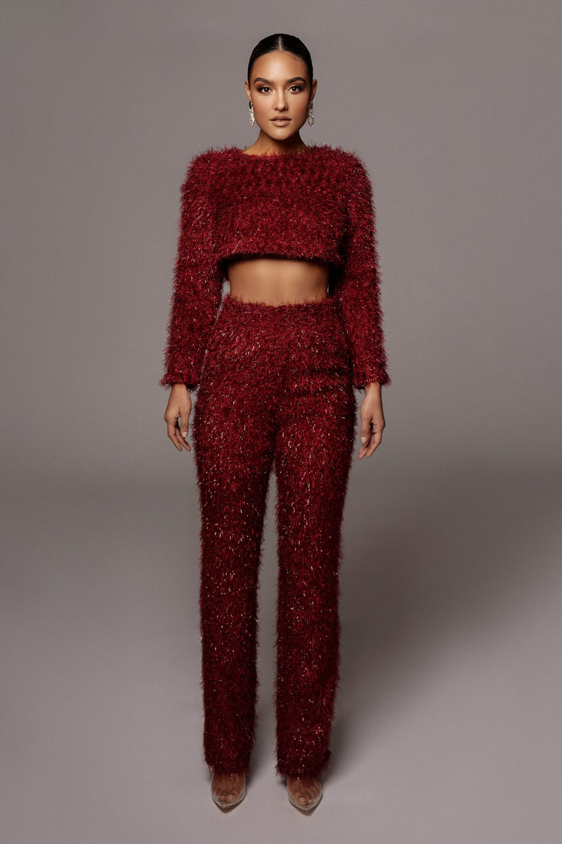 RED ABBY SHAGGY PANTS