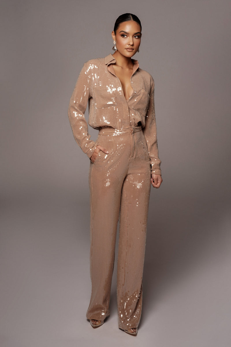 TAN BAGUETTE SEQUIN BUTTON UP