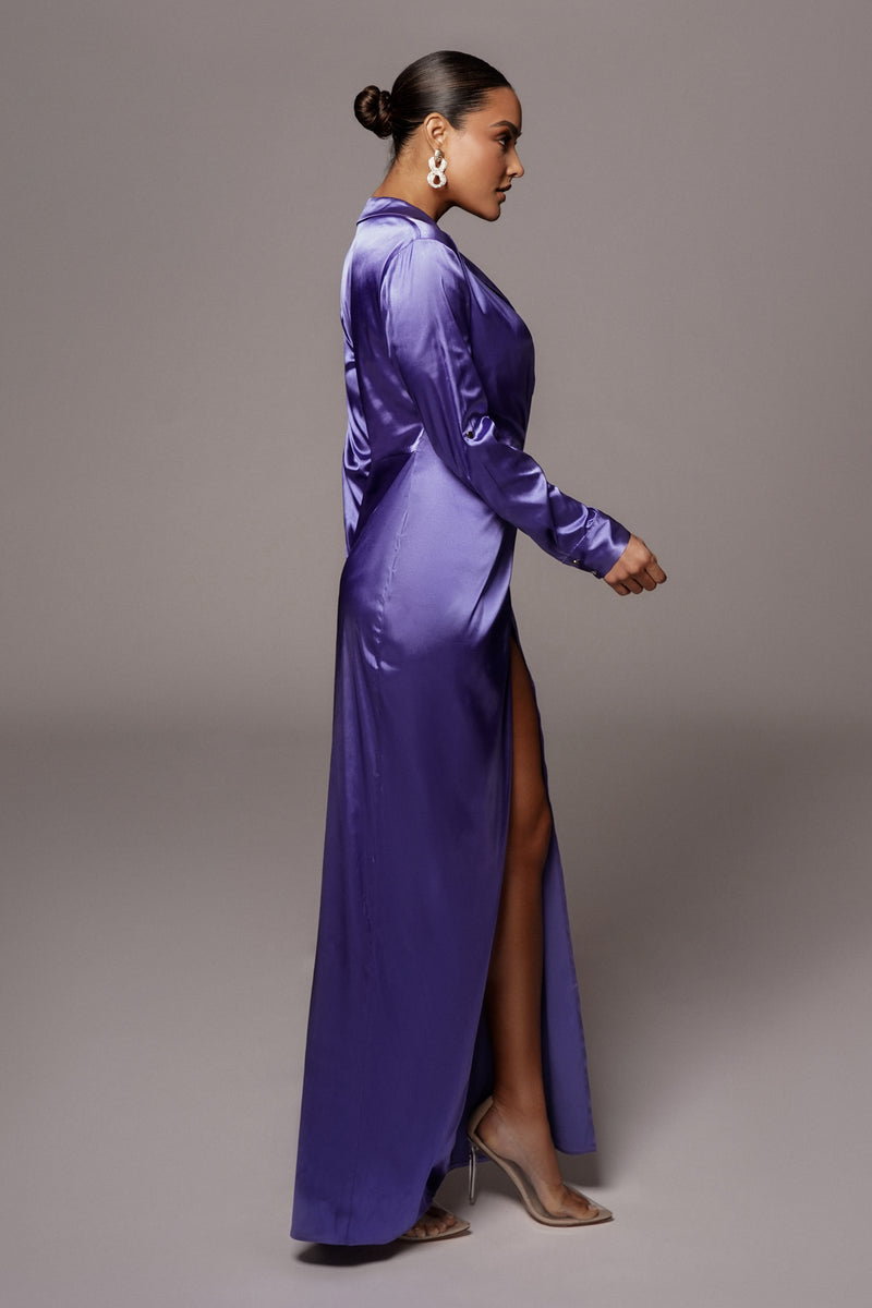 PURPLE SOLANGE PLUNGING MAXI DRESS