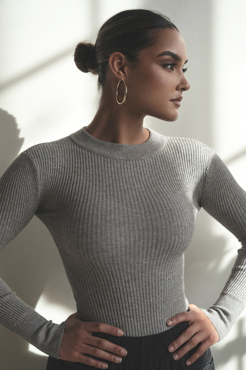GREY SAVAY TURTLENECK RIBBED BODYSUIT