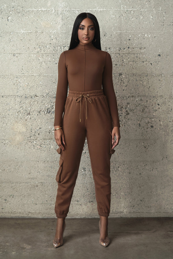 BROWN UPGRADED HIGH NECK TOP