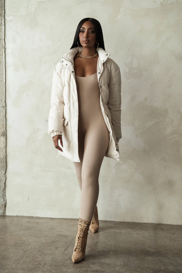 CREAM ASPEN LONG PUFFER COAT