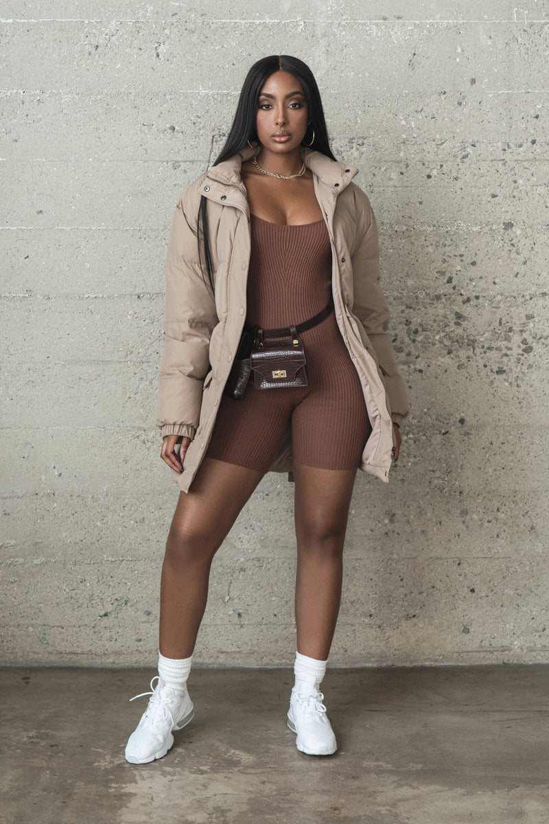 CHOCOLATE ZOLA RIBBED ROMPER