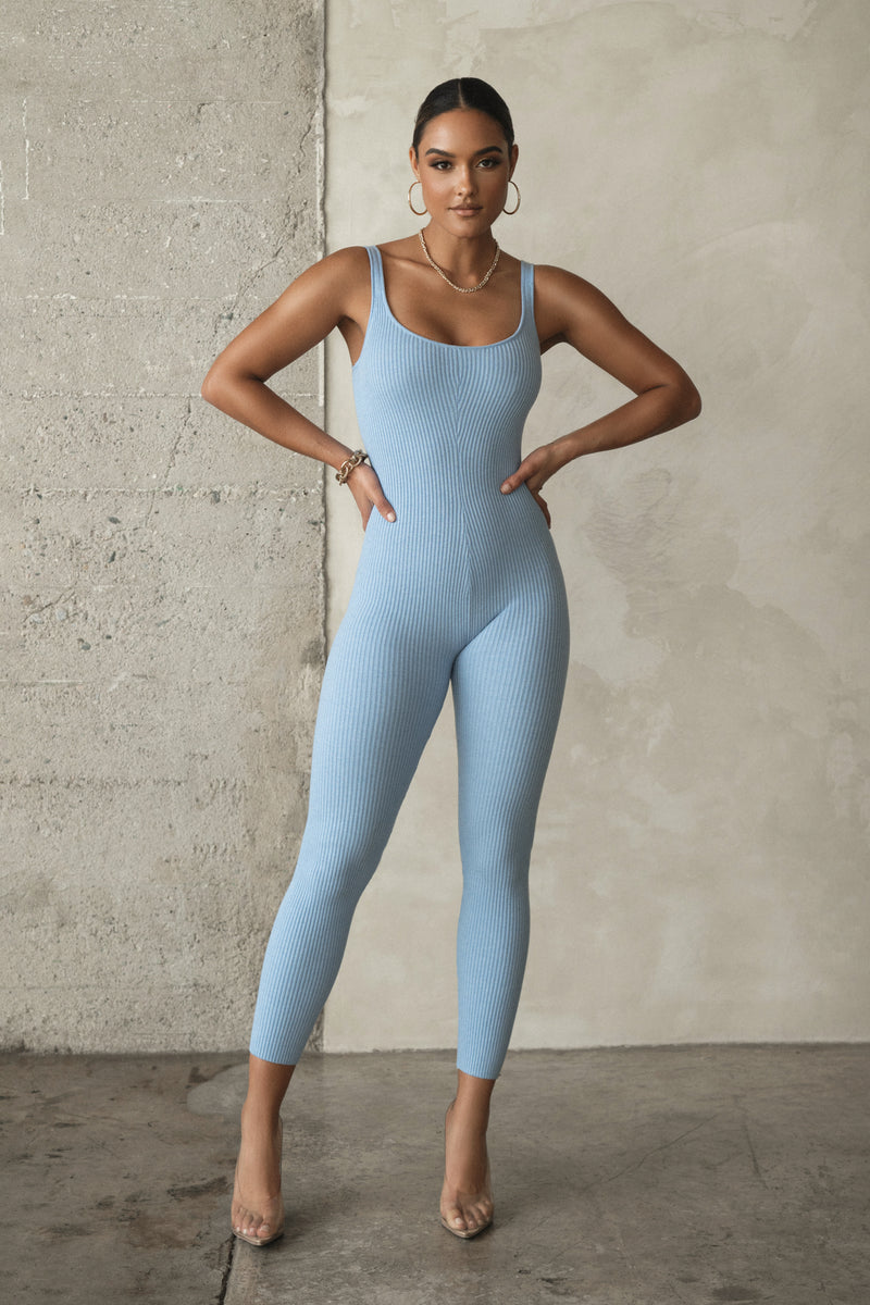CHAMBRAY SANURA RIBBED JUMPSUIT