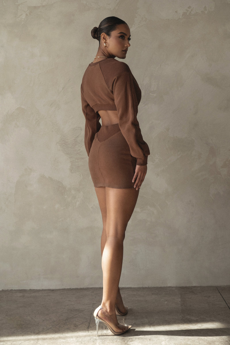 CHOCOLATE FRENCH CREW NECK DRESS