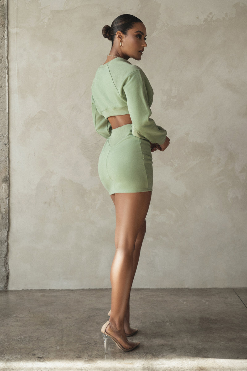 SAGE FRENCH CREW NECK DRESS