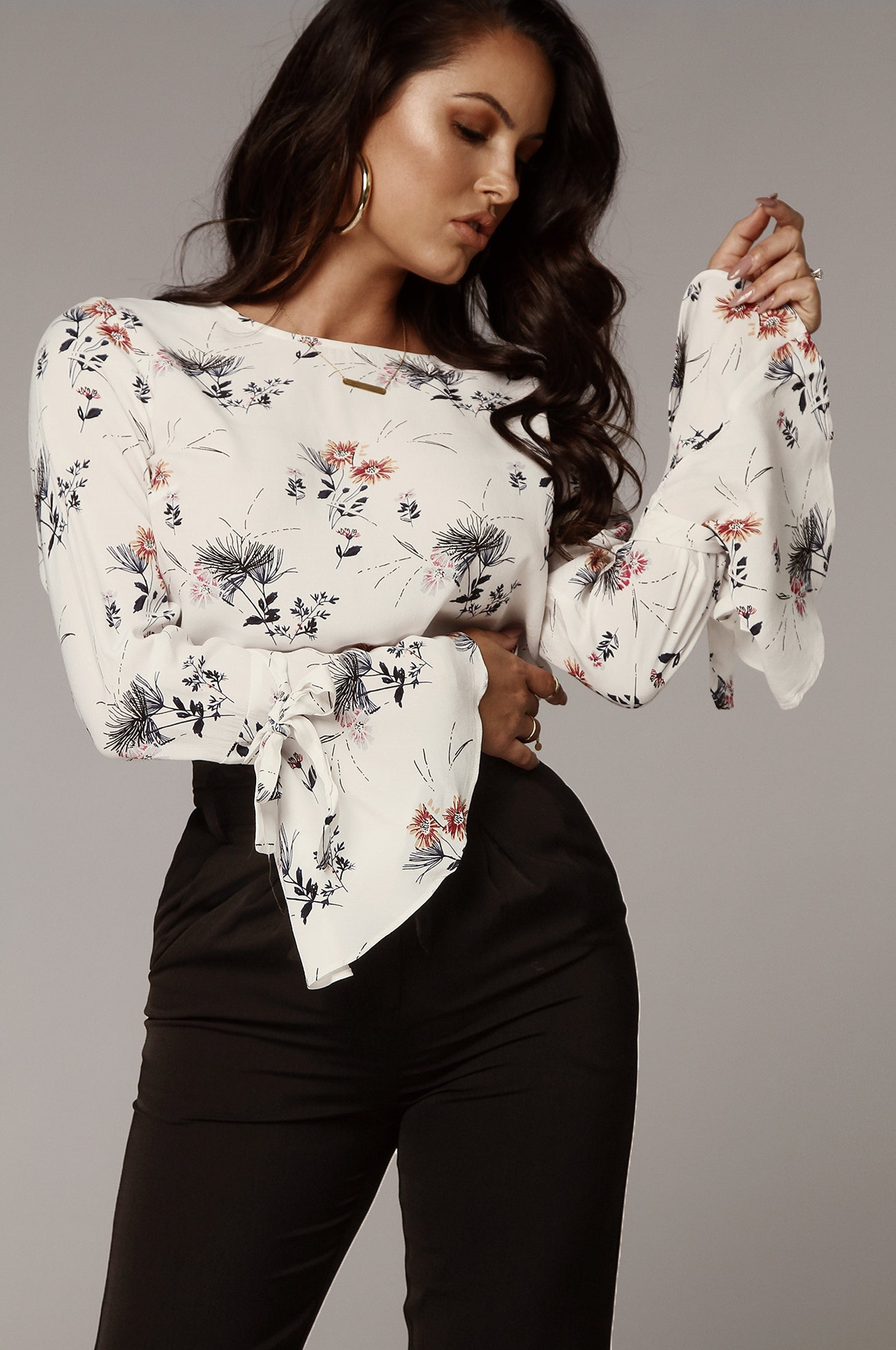 White Aster Bell Sleeve Blouse