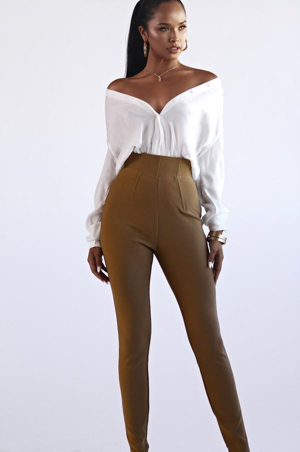Beige Ultra High Waisted Skinny Pants