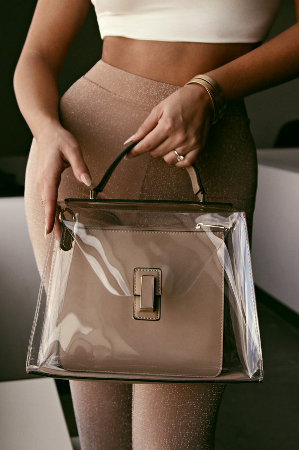 BEIGE AND CLEAR SKYSCRAPER PURSE
