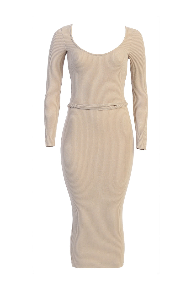 TAUPE JODY DETAILED BACK RIBBED DRESS