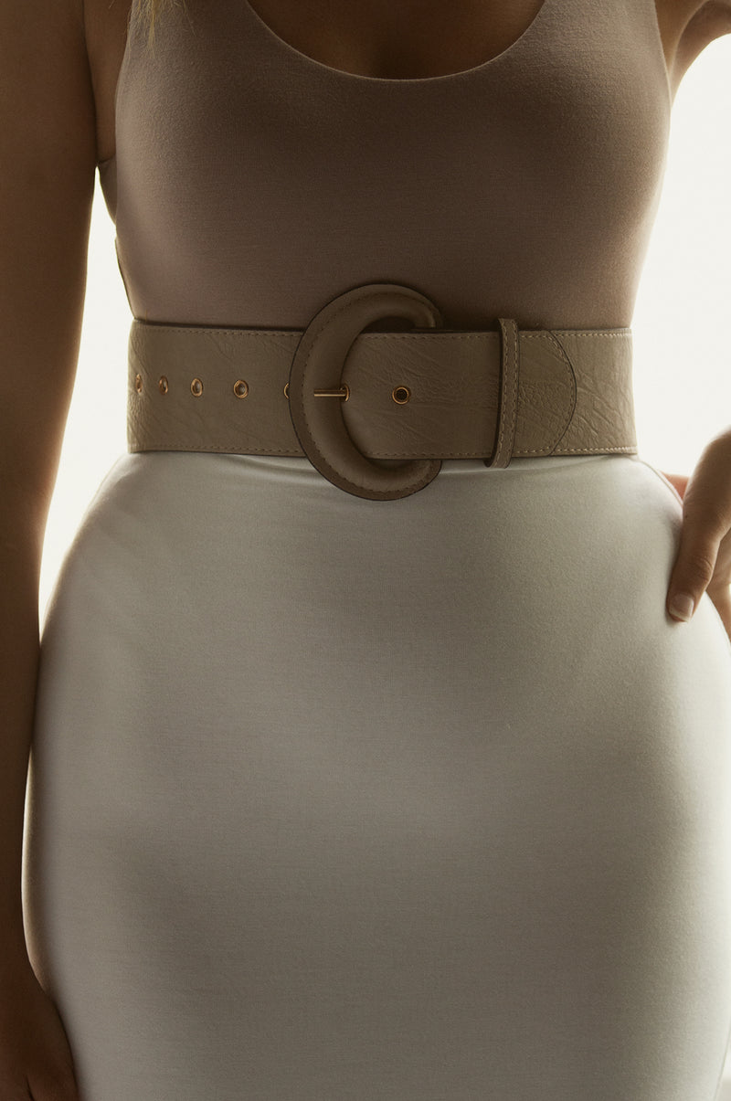 Taupe Faux Leather Thick Belt