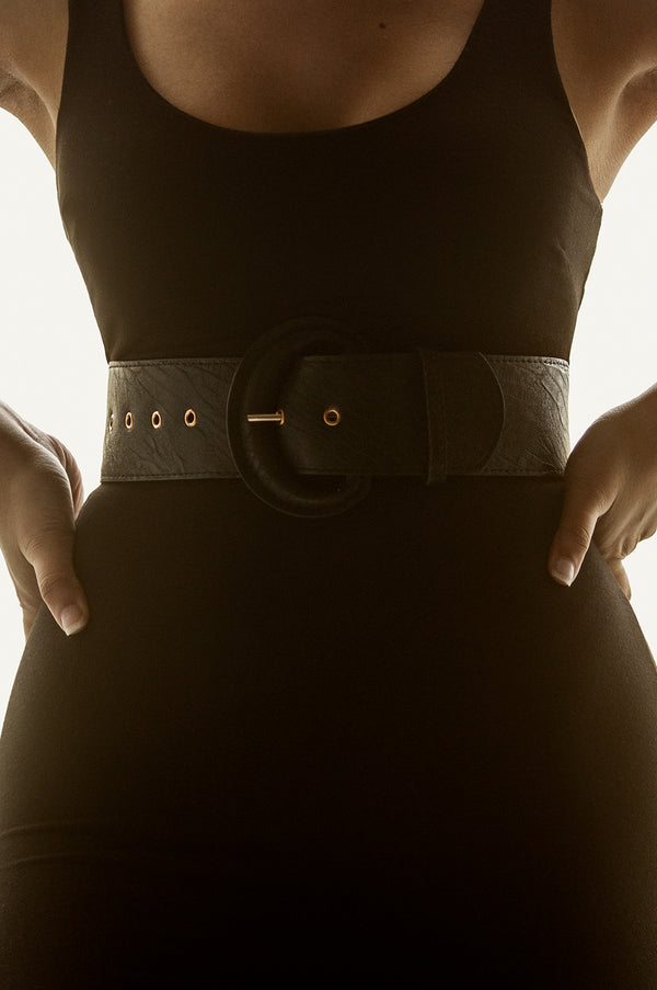 Black Faux Leather Thick Belt