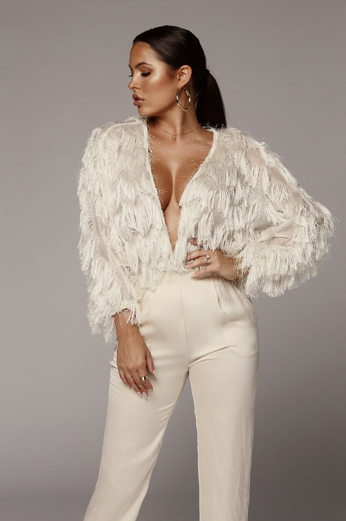 Cream Birds of a Feather Fringe Sweater