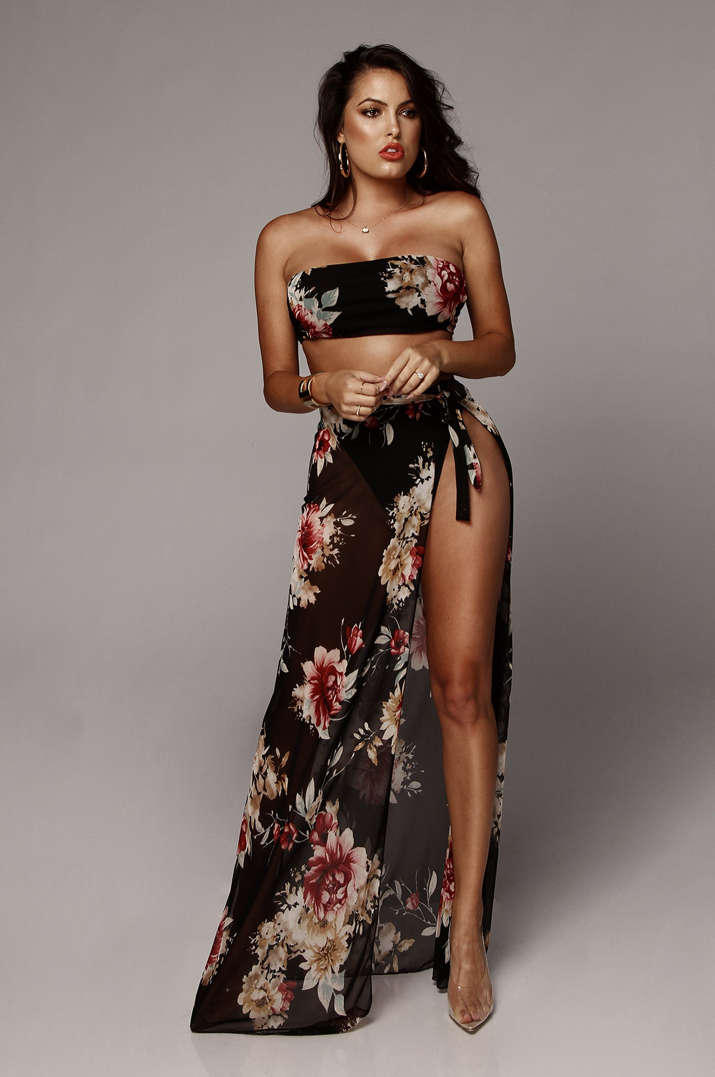 Black Ellie Sheer Floral Set