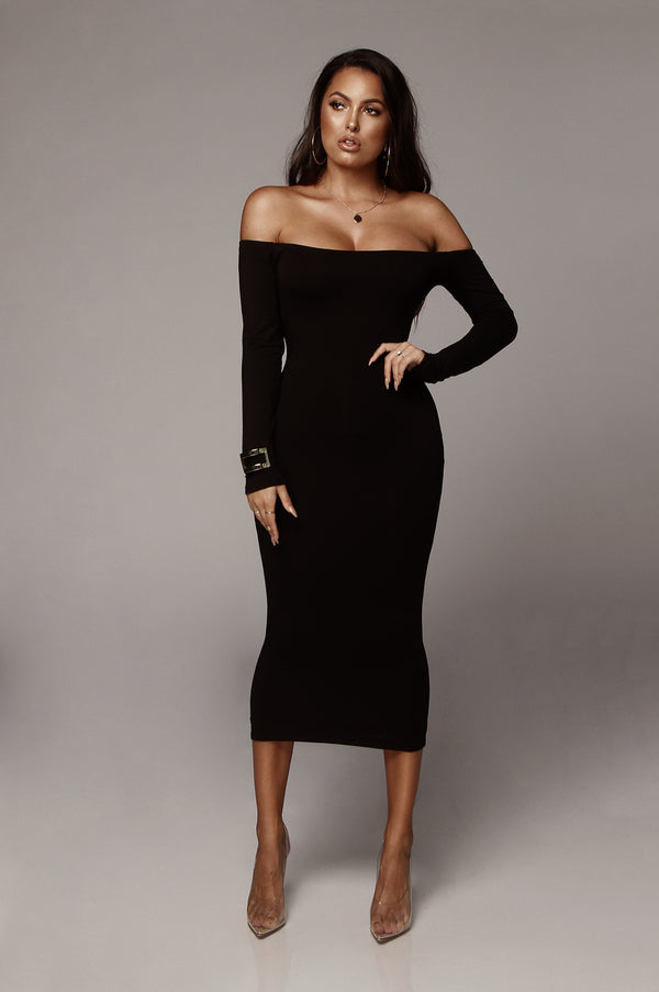 Black Eva Off shoulder Jersey Dress