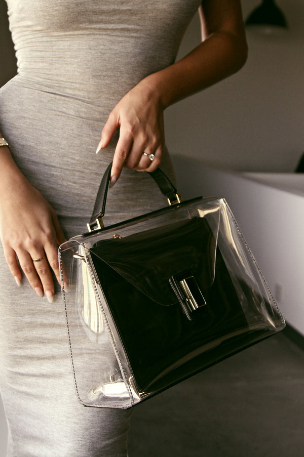 BLACK AND CLEAR SKYSCRAPER PURSE
