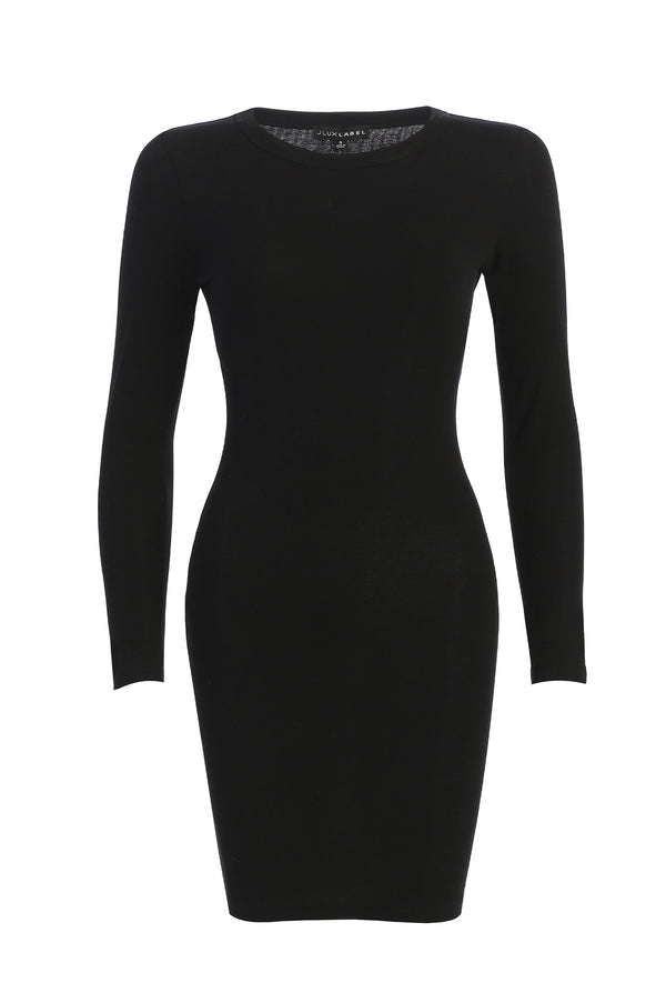 BLACK SO SMOOTH FITTED DRESS