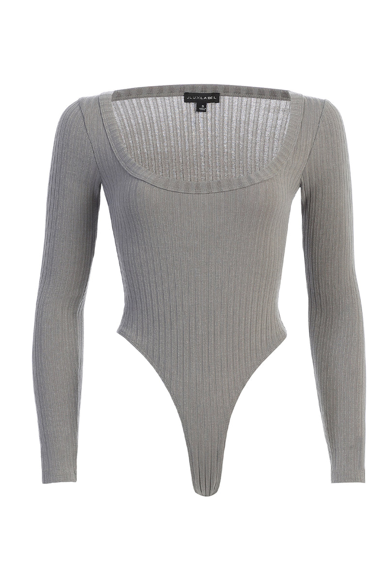 GREY BRINX RIBBED BODYSUIT
