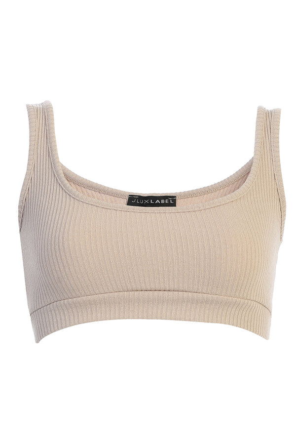 TAUPE COSETTE KNIT RIBBED CROP TOP