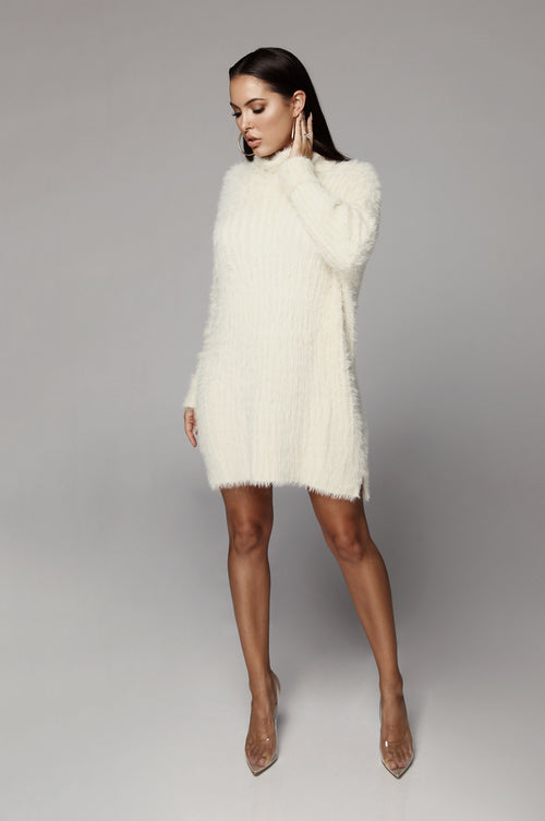 Cream Soft & Fuzzy Sweater Dress