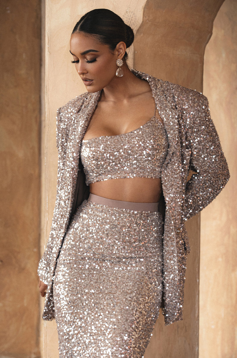 DUCHESS SEQUIN CROP TOP