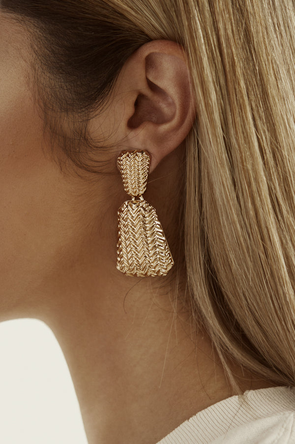 Gold Pine Earrings