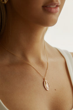 Gold Mary Pendant Necklace