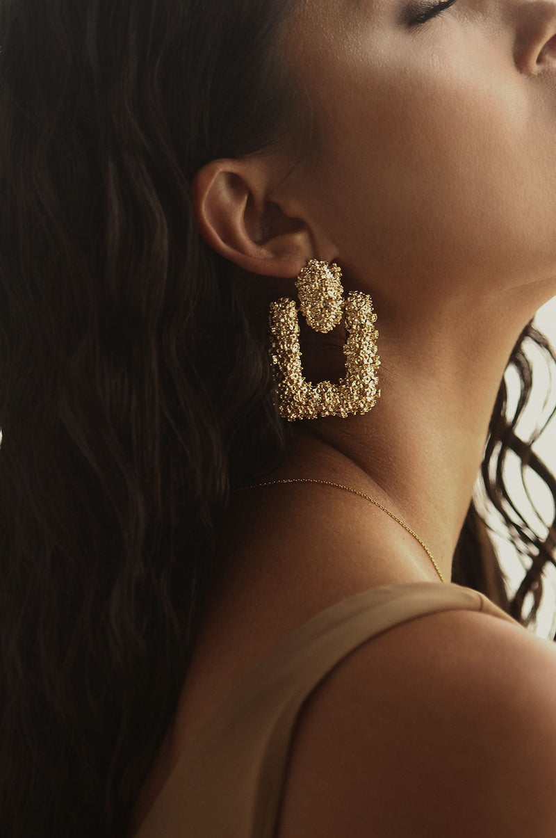 Gold Ethic Statement Earrings