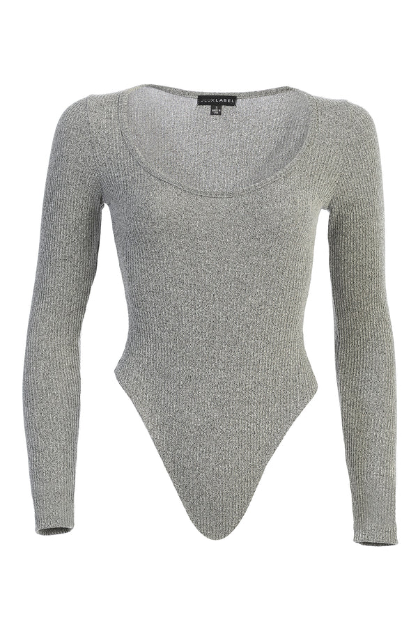 GREY ELLERY KNIT RIBBED BODYSUIT