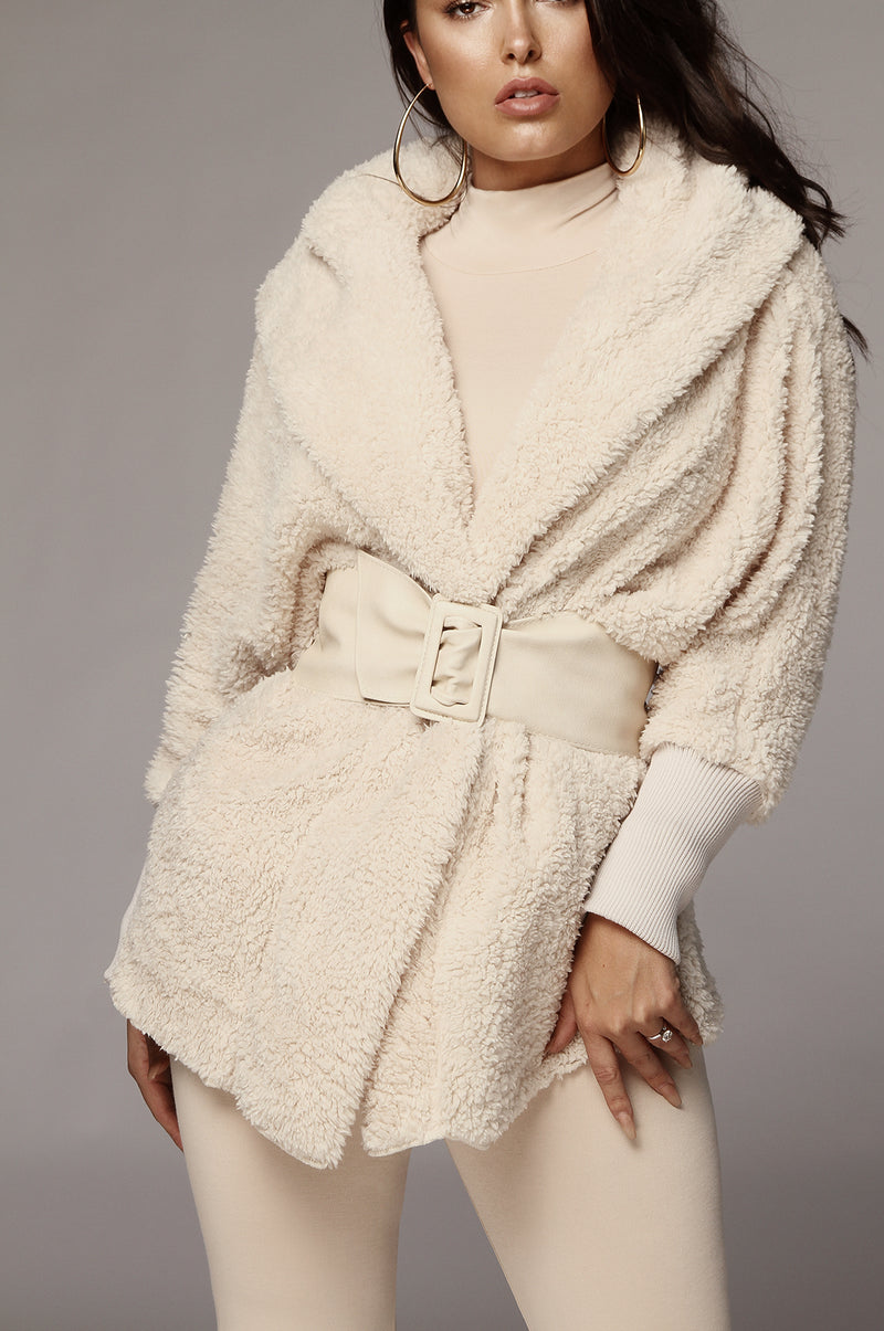 Cream Iceland Faux Shearling Hooded Jacket
