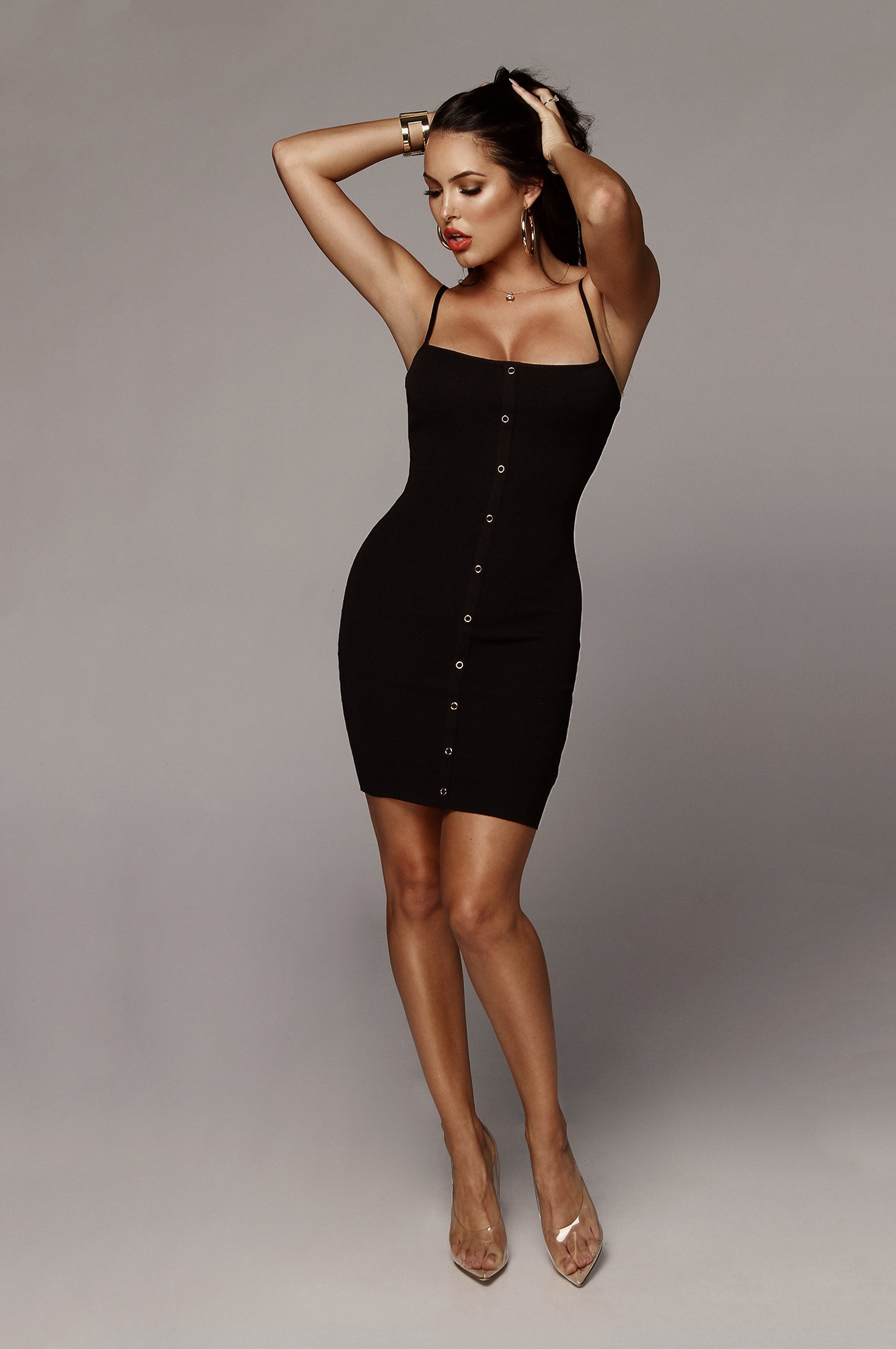 Black Front and Center Snap Dress
